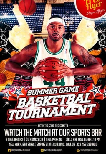 Free Basketball Sport PSD Flyer Template