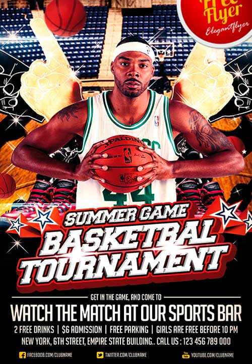Download Free Basketball Sport Psd Flyer Template
