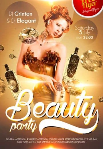 Free Beauty party PSD Flyer Template