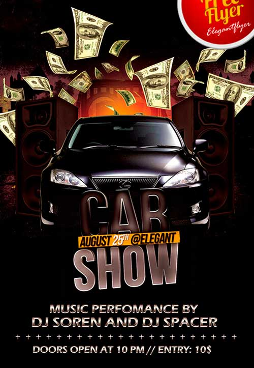 Free Car Show Party PSD Flyer Template
