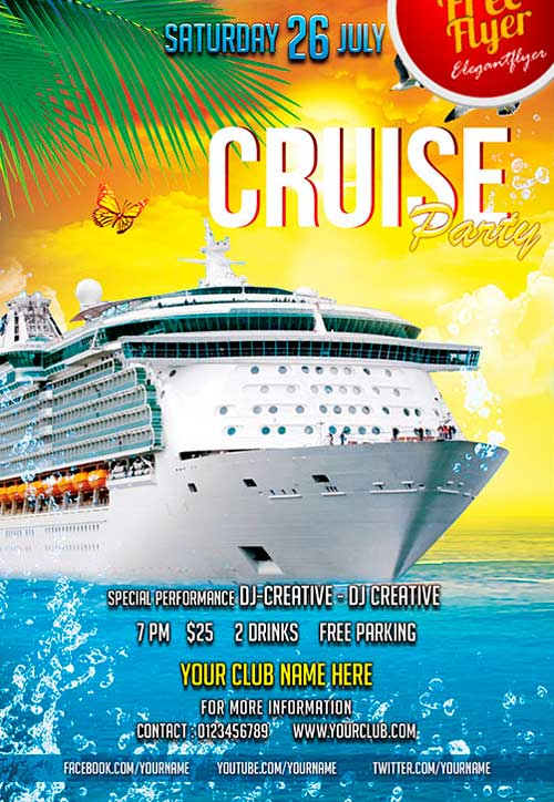 free cruise party psd flyer template