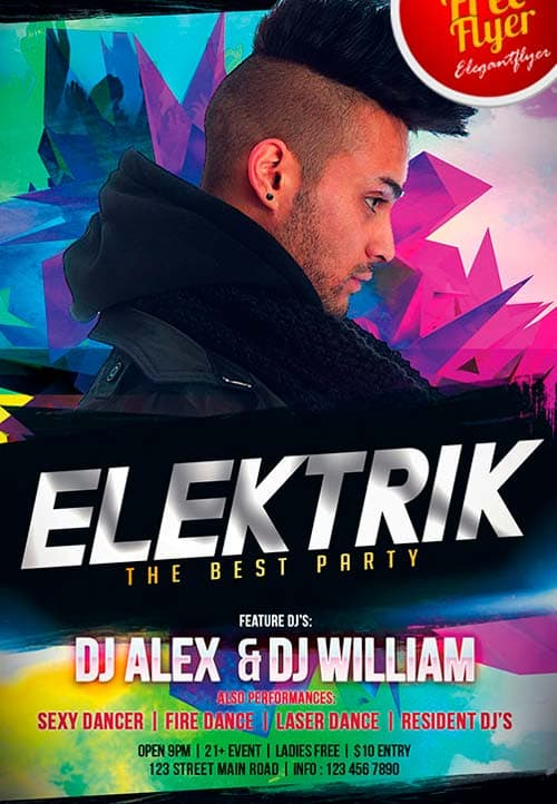 Dj Elektrik – Flyer PSD Template + Facebook Cover