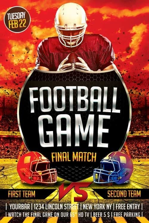 download free football flyer template