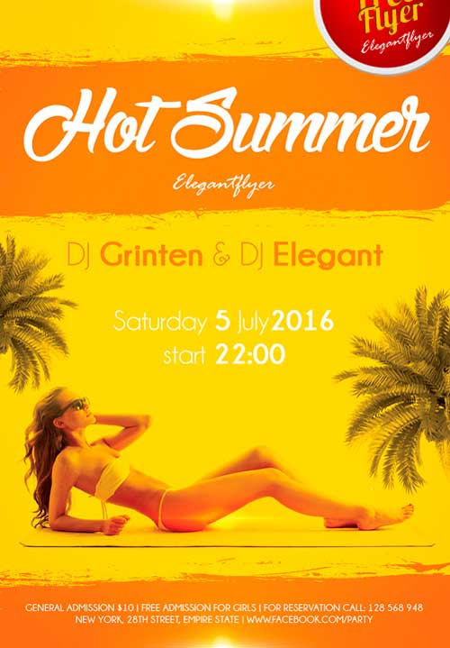 Free Hot Summer PSD Flyer Template