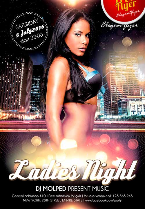 Free Ladies Night PSD Flyer Template
