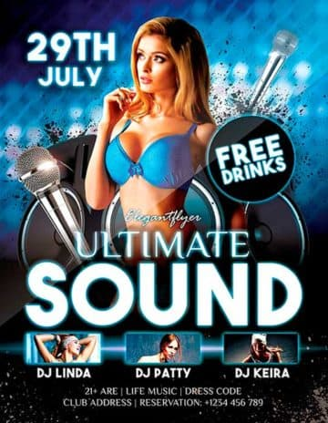 Download Free Ultimate Sound Dj PSD Flyer Template