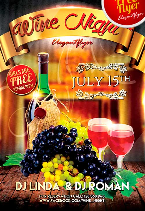 Free Wine Fest Night PSD Flyer Template
