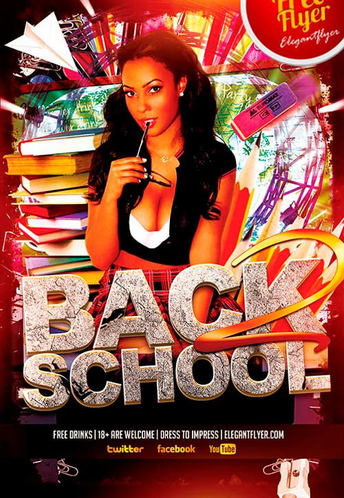 Free Back to School Party PSD Flyer Template