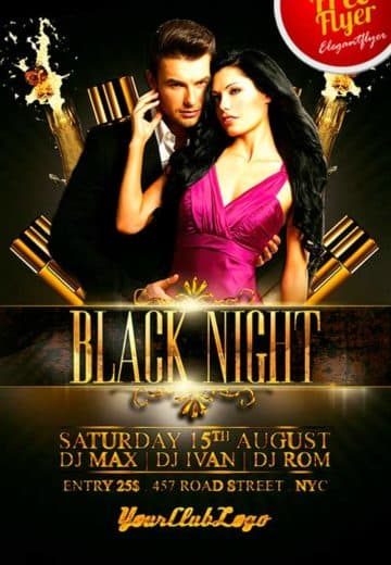 Free Black Night Club PSD Flyer Template