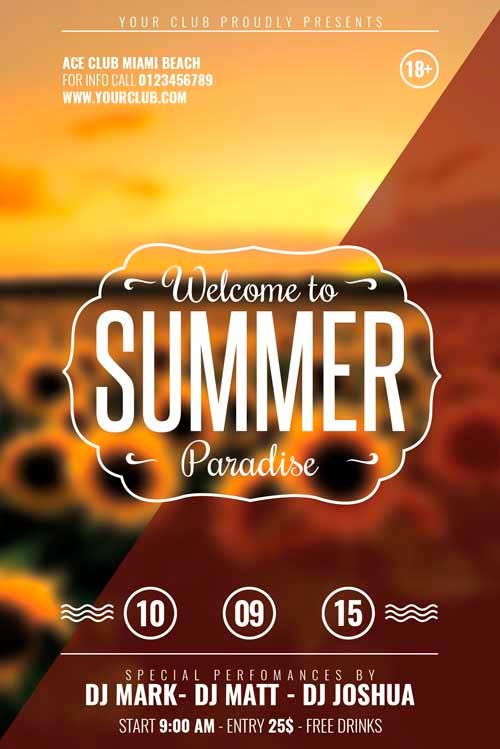 Download Free Flat End Of Summer Minimal Flyer Template