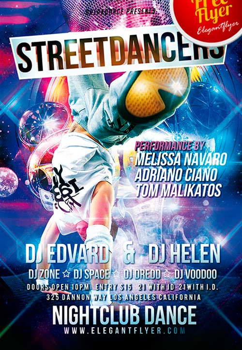 Free Street Dancers PSD Flyer Template