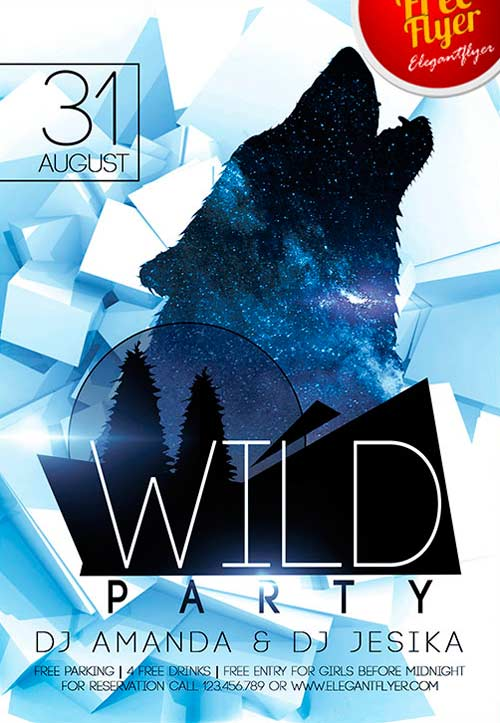 Free Wild Party PSD Flyer Template