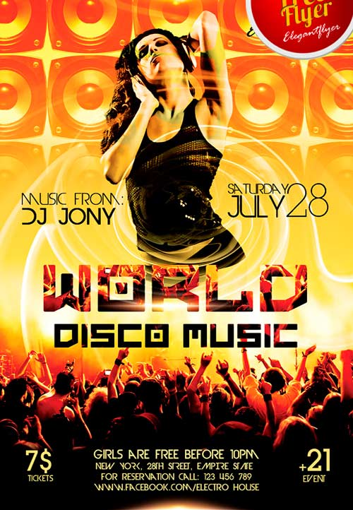 Freepsdflyer  Free World Disco Music Psd Flyer Template Download