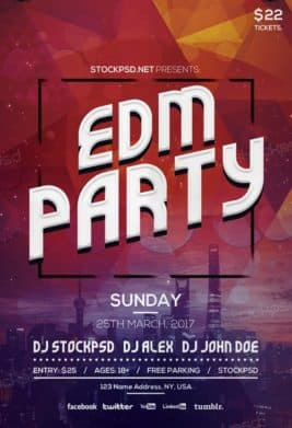 Free EDM Party PSD Flyer Template