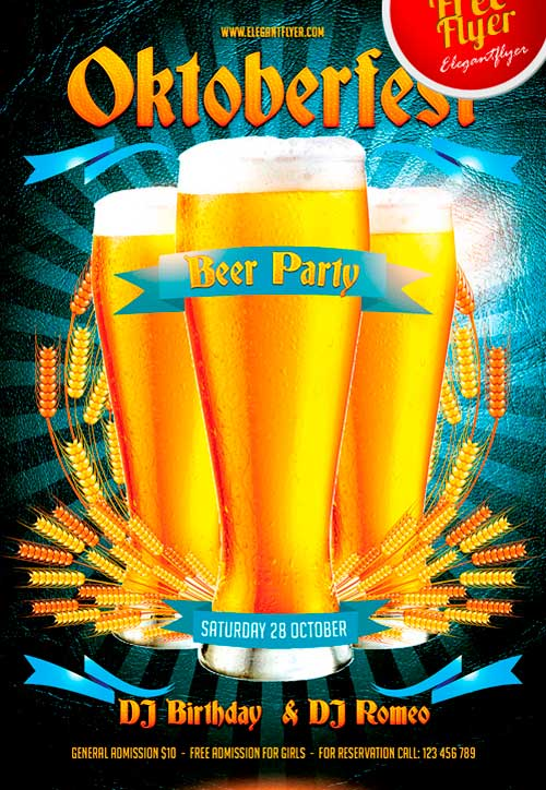 Oktoberfest Beer Party Free Flyer PSD Template