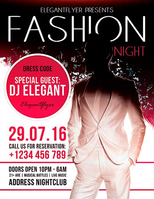 Download fashion night free flyer psd template for Fashion flyers templates for free