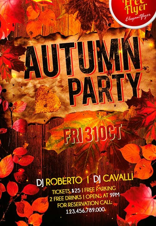 download free autumn party flyer psd template