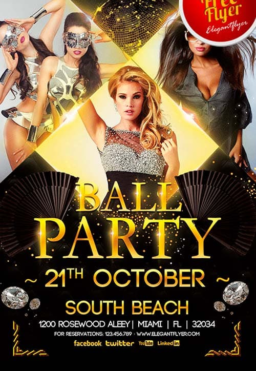 Freepsdflyer Download Free Ball Party Flyer Psd Template