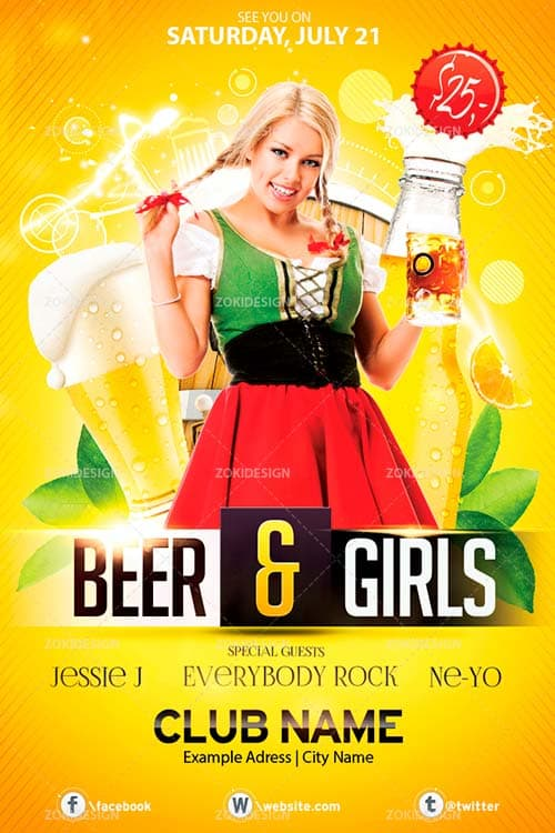 Free Beer and Girls Flyer PSD Template