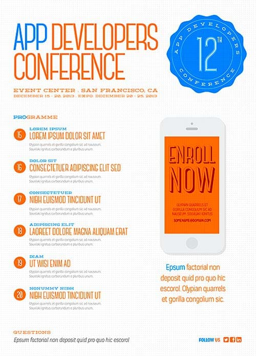 Download Free Digital Conference Flyer PSD Template – Conference Flyer Template