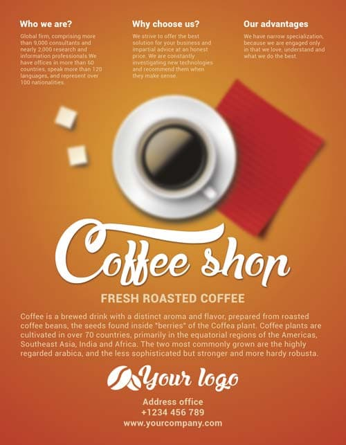 Download Free Coffee Shop Flyer Psd Template For Photoshop - Freebie