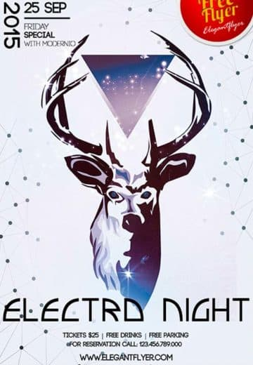 Free Electro Night Sports Flyer Template