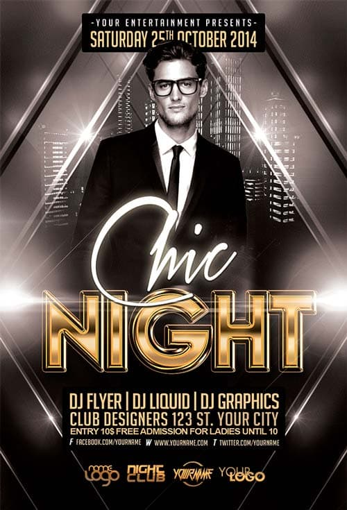 Freepsdflyer Download The Free Chic Night Free Flyer Template