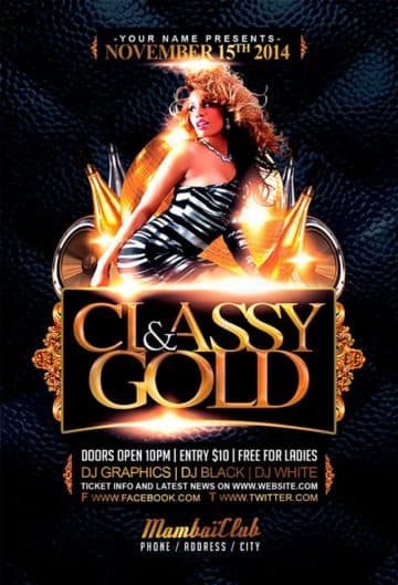 Free Classy And Gold Free Flyer Template