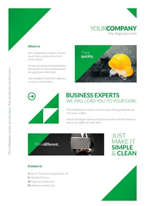 Free Clean Corporate A4 Flyer and Poster Template for Photoshop