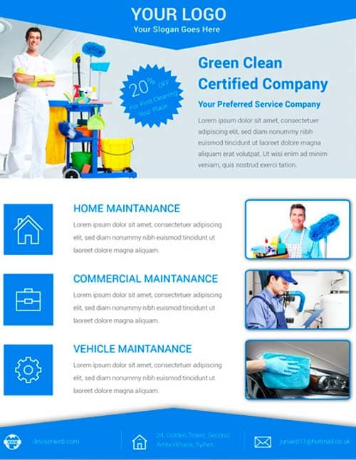 Download free cleaning service flyer psd template for for Ironing service flyer template