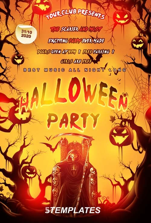 Download The Free Halloween Party Flyer Psd Template For Photoshop