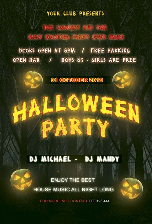 Download free halloween flyer psd templates for photoshop for Free halloween flyer templates