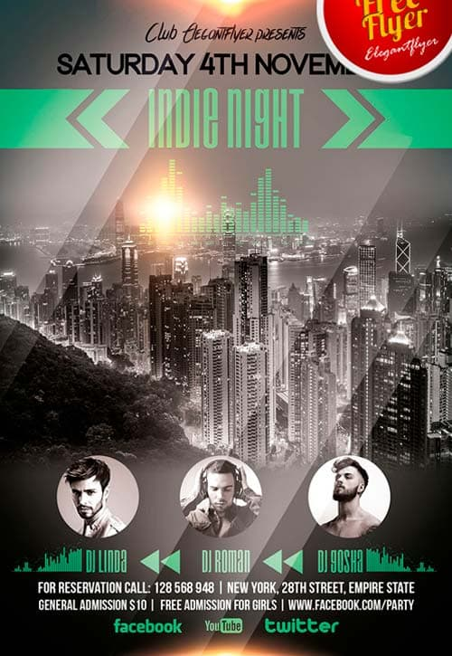 Free Indie Night Flyer PSD Template