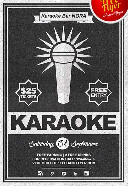 Download Free Karaoke Flyer PSD Templates for Photoshop – Bar Flyer Template