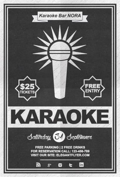 Free Karaoke Night Flyer PSD Template