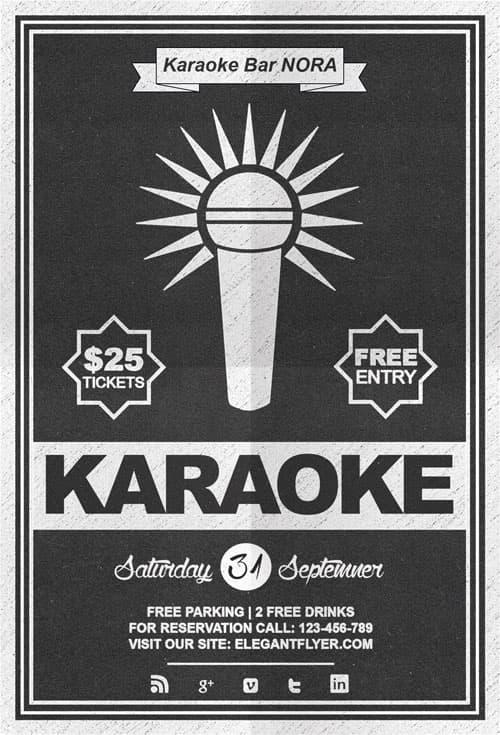 Free Karaoke Night Flyer PSD Template