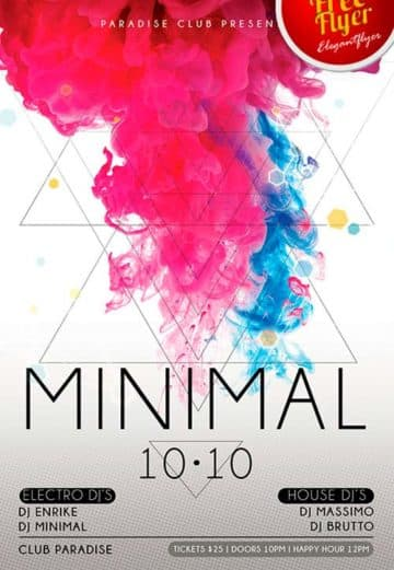 Free Minimal Electro Flyer PSD Template