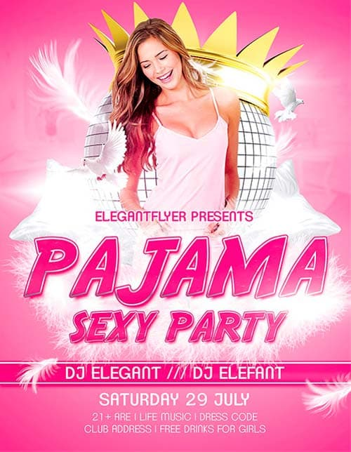 Free Sexy Pajama Party Flyer Template
