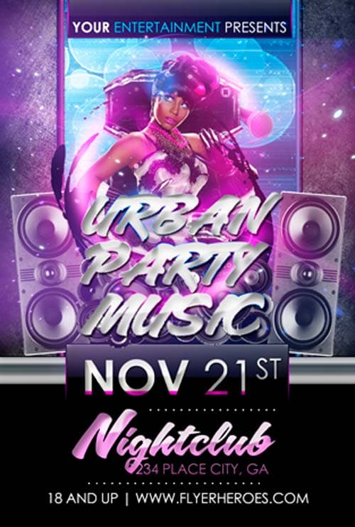 Freepsdflyer  Download Free Urban Party Music Flyer Template