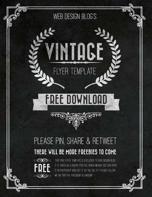 download the free vintage chalkboard flyer psd template. Black Bedroom Furniture Sets. Home Design Ideas