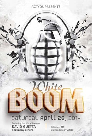 Free White Boom PSD Flyer Template