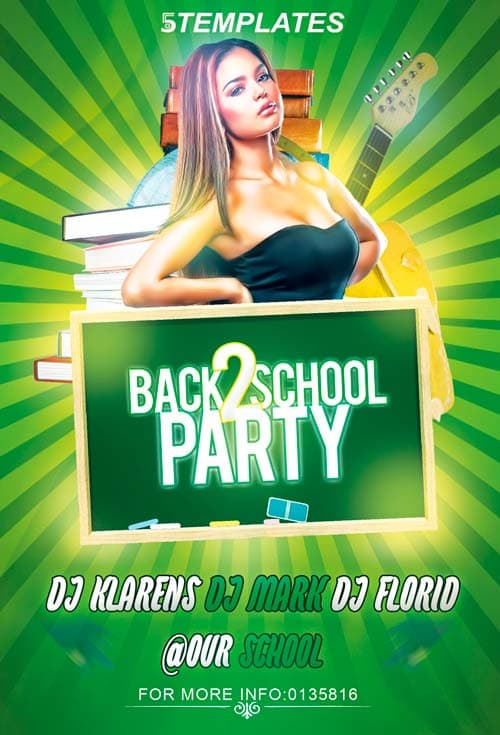 Free Back To School Party Flyer PSD Template Photoshop Freebie