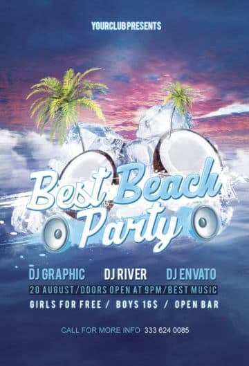 Free Beach Party Flyer PSD Template