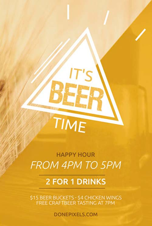 FreePSDFlyer | Download Beer Time Free Flyer PSD Template