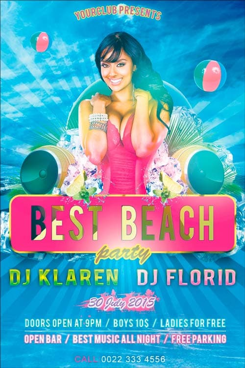 Best Beach Party Free Flyer PSD Template