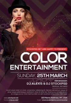 Color Entertainment Party Free Flyer PSD Template