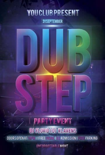 Free Dub Step Electro Flyer PSD Template
