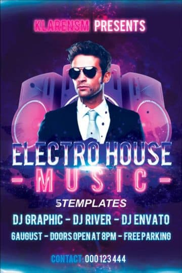 Free Electro House Flyer PSD Template