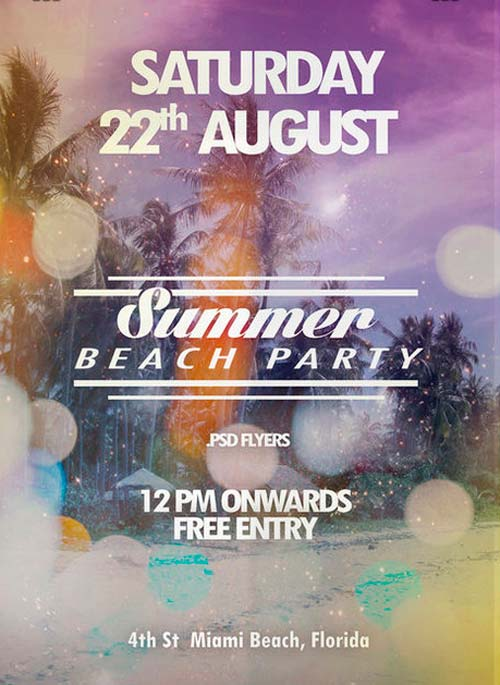 download free summer beach party flyer psd template for