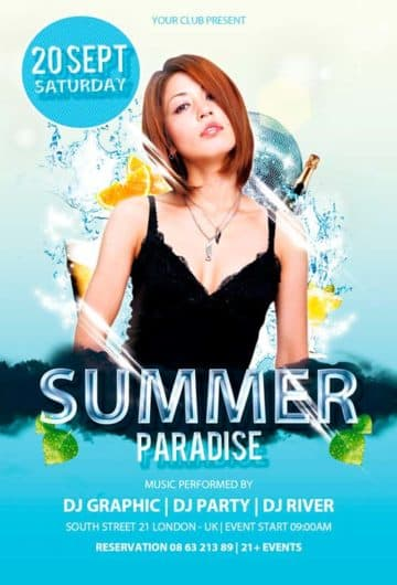 Free Summer Paradise Flyer PSD Template
